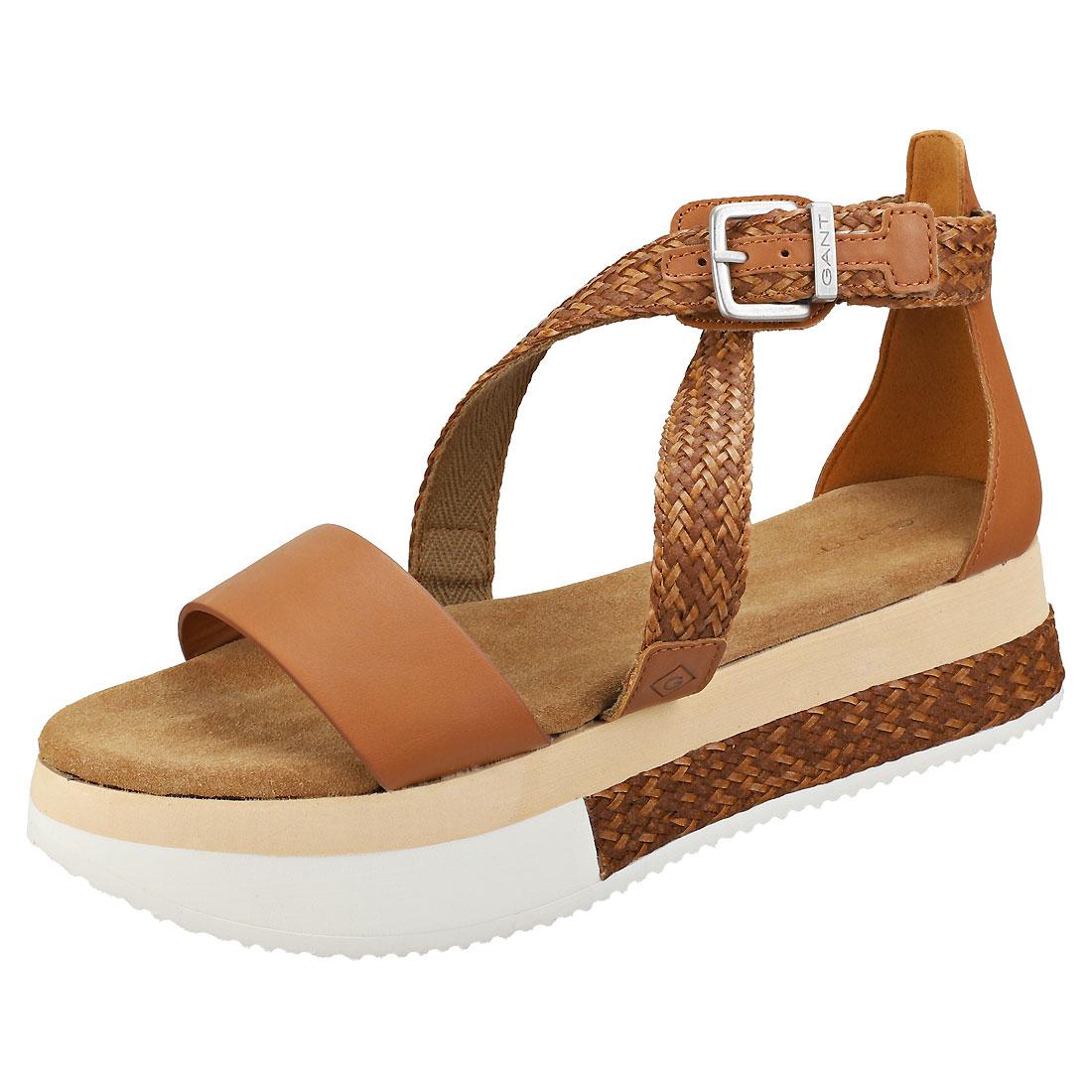 GANT Sant Ana donna Cognac Cuoio Synthetic Flatbform  Sandals  prezzo più economico
