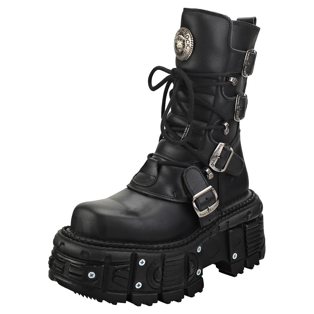 2019 Nuovo Stile New Rock New Punk And Rock Unisex Black Pelle Stivali Piattaforma
